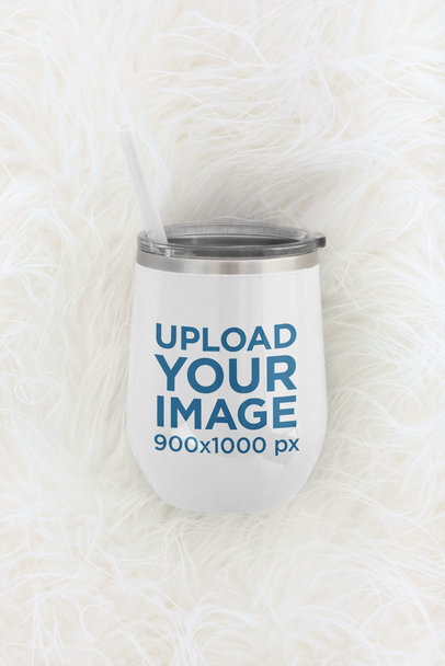 Wine Tumbler Mockup Featuring a Fur Surface m232