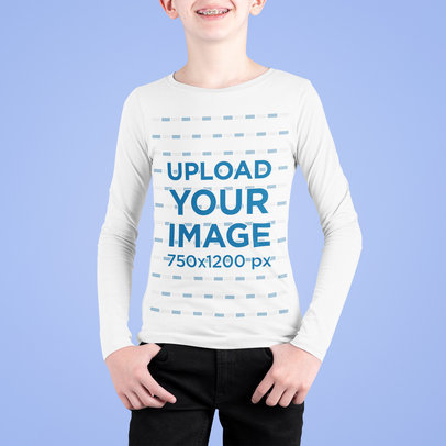 Long Sleeve Tee Mockup Featuring a Kid with Braces m708