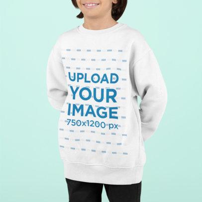 Sweatshirt Mockup of a Smiling Boy in a Studio M865