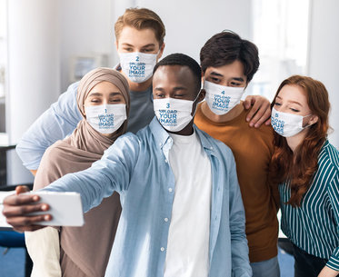 Mockup Featuring a Group of a Friends Wearing Face Masks 45667-r-el2
