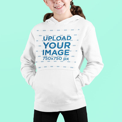 Front-View Mockup of a Smiling Girl Wearing a Pullover Hoodie at a Studio m697