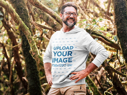 Hoodie Mockup of a Middle-Aged Man on a Hike 45755-r-el2