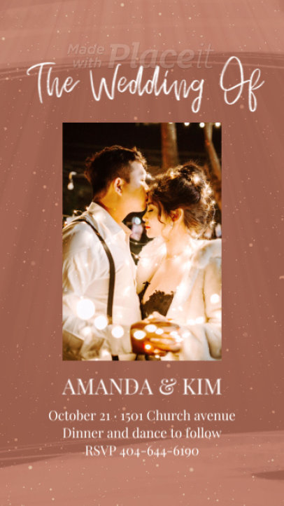 Instagram Story Video Template with Sparkles for a Wedding Announcement 2585