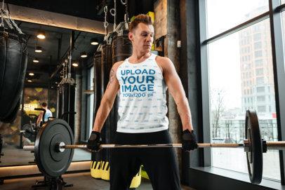 Tank Top Mockup of an Athletic Man Lifting Weights 38187-r-el2