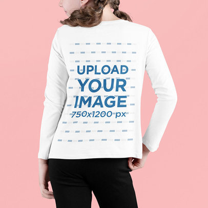 Back-View Long Sleeve Tee Mockup Featuring a Girl with Two Braids m703