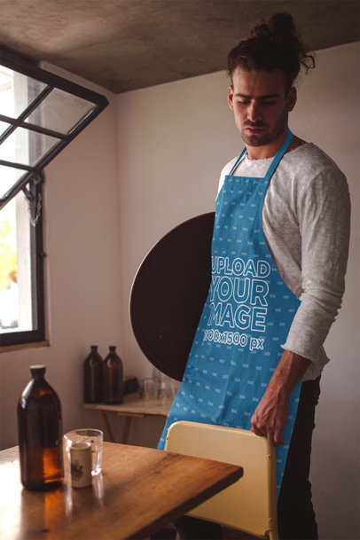 Apron Mockup of a Waiter at an Empty Table 19868a