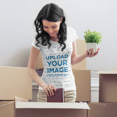 T-Shirt Mockup of a Woman Unpacking After Moving 45856-r-el2