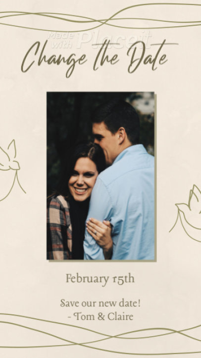 Wedding-Themed Instagram Story Video Generator for a Change the Date Announcement 2589