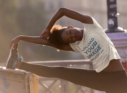 Activewear Mockup of a Woman With a T-Shirt Stretching 45369-r-el2