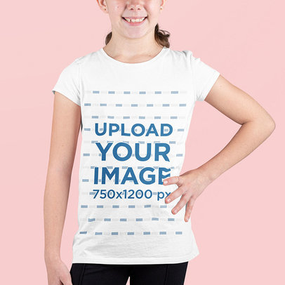 Cropped Face Mockup of a Girl Wearing a Basic T-Shirt m690