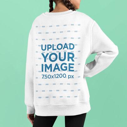 Back View Mockup of a Girl Wearing an Oversized Sweatshirt m734
