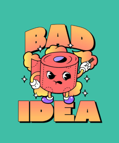 Funny T-Shirt Design Maker Featuring a Mad Toilet Paper 3241i