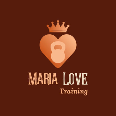 Fitness Logo Creator with a Crowned Heart Graphic 3936f
