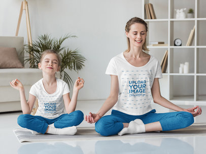 T-Shirt Mockup Featuring a Girl and Her Mother Meditating at Home 45467-r-el2