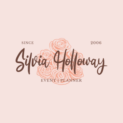 Logo Maker for an Event Planner with a Graphic of Roses 3928l