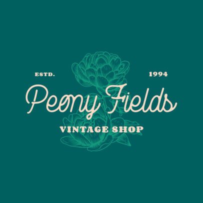 Logo Generator for a Vintage Shop with a Flower Icon 3928q