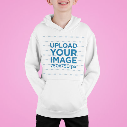 Cropped Face Mockup of a Kid with Braces Wearing a Hoodie m713