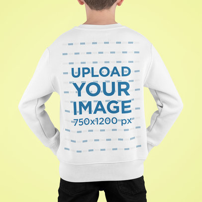 Back View Mockup of a Kid Wearing a Sweatshirt and Standing Against a Plain Backdrop m720