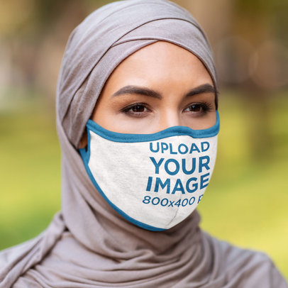 Mockup Featuring a Woman in a Hijab Wearing a Face Mask 45834-r-el2
