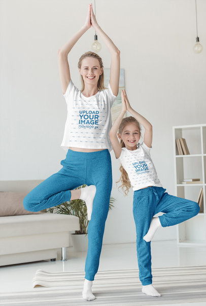 T-Shirt Mockup of Mom and Daughter Having Fun Doing Yoga 45468-r-el2