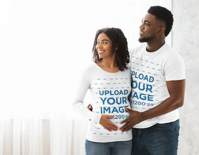 T-Shirt and Long Sleeve Tee Mockup of a Pregnant Couple at Home 45822-r-el2