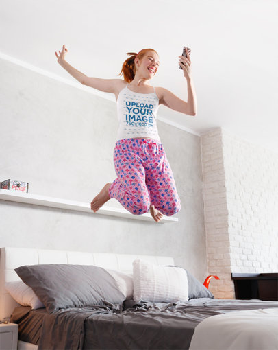 Camisole Tank Top Mockup of a Young Woman Jumping on Her Bed 35602-r-el2