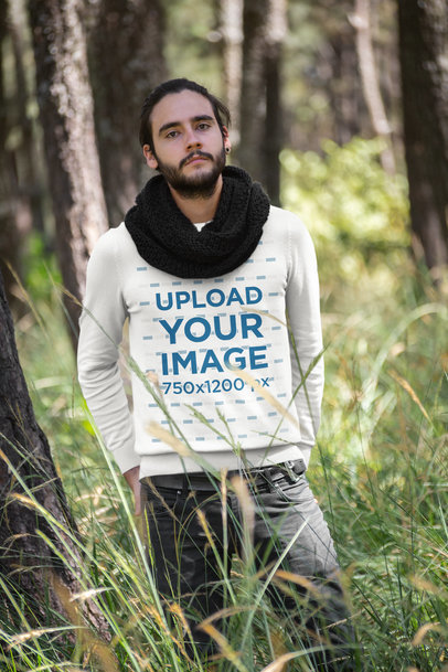 Sweatshirt Mockup of a Serious Man Posing in the Forest 18032a