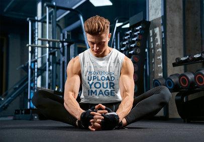 Sleeveless Shirt Mockup Featuring a Muscular Man at the Gym 40858-r-el2