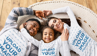 T-Shirt and Long Sleeve Tee Mockup of a Family of Three Lying Together 45947-r-el2