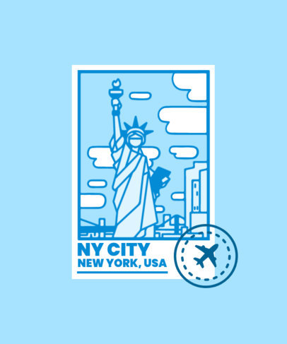 T-Shirt Design Maker Featuring Postal Stamps of Major City Landmarks 3325-el1