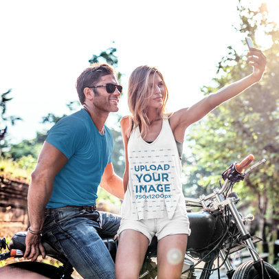 Mockup of a Woman Wearing a Slouchy Tank Top While Taking a Selfie with Her Boyfriend 34984-r-el2