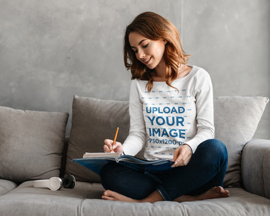 Long Sleeve Tee Mockup of a Young Woman Doing Her Homework 45430-r-el2