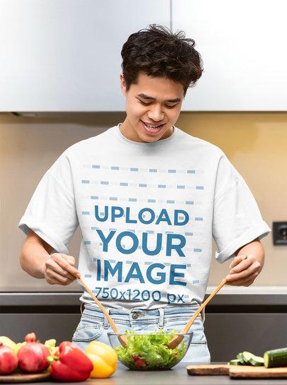 T-Shirt Mockup Featuring a Man Making a Salad 45967-r-el2
