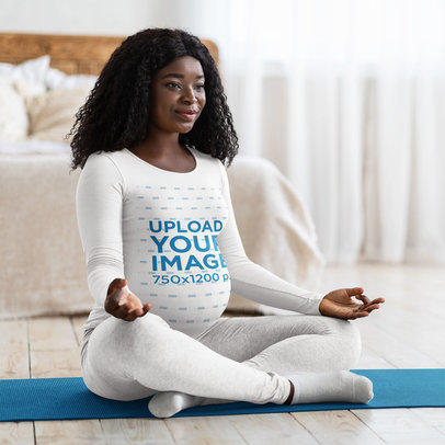 Long Sleeve Tee Mockup Featuring a Pregnant Woman Meditating in Her Bedroom 45532-r-el2