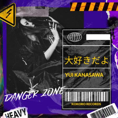 Album Cover Design Template for Edm Music Artist Featuring a Plastic Wrap  Texture 3275g
