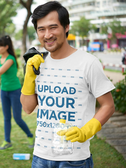 Tee Mockup Featuring a Happy Man Cleaning a Park 43112-r-el2