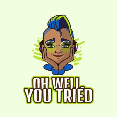 Twitch Emote Logo Generator with a Non-Binary Gamer Cartoon 3960l