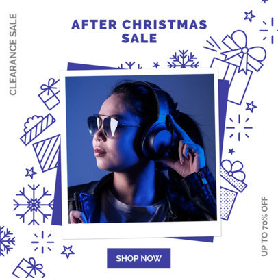 Instagram Post Design Template for an After Xmas Sale Featuring Festive Doodles 3282