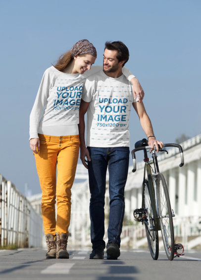 Long Sleeve Tee and T-Shirt Mockup of a Couple Walking Together 45215-r-el2