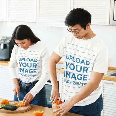 Mockup of a Young Couple Cooking While Wearing a T-Shirt and a Long Sleeve Tee 42485-r-el2