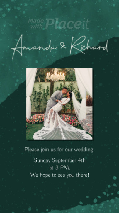 Instagram Story Video Template for a Wedding Date Announcement 2594