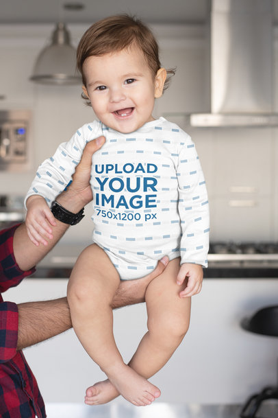 Sublimated Onesie Mockup of a Baby Being Held by His Dad m984