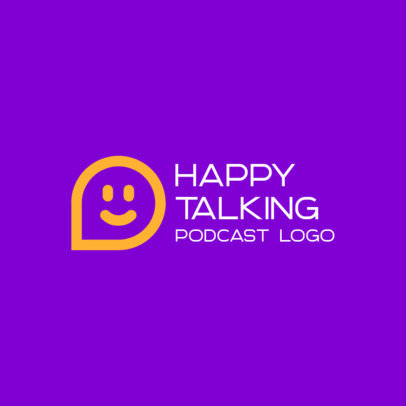 Podcast Logo Template Featuring a Smiling Dialogue Globe 3969d