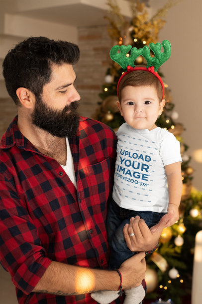 T-Shirt Mockup of a Baby Boy with His Dad m1002