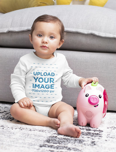 Onesie Mockup Featuring a Baby Girl with a Piggy Bank M933
