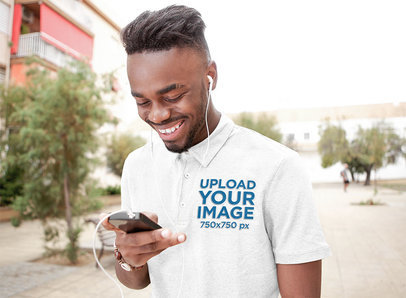 Polo Shirt Mockup of a Happy Man Listening to Some Music 45241-r-el2