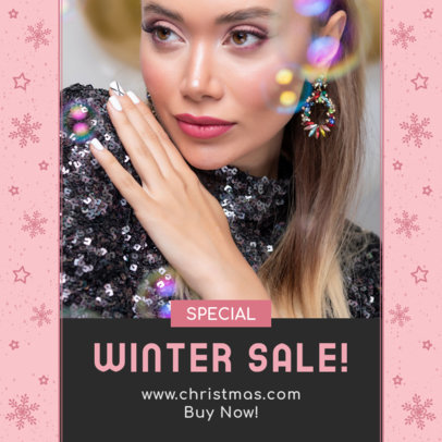 Instagram Post Template for a Winter Sale with Snowflake Graphics 3283g
