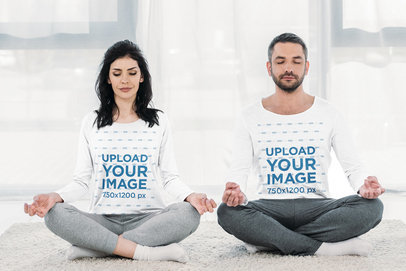 Long Sleeve Tee Mockup Featuring a Couple Meditating Together 46164-r-el2