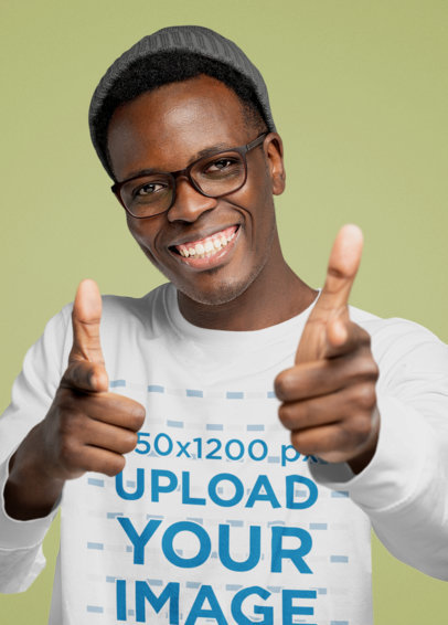 Long Sleeve Tee Mockup Featuring a Happy Man Pointing at the Camera 46270-r-el2