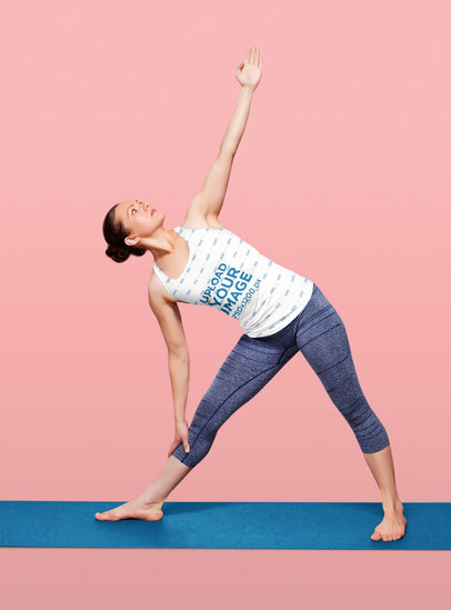 Tank Top Mockup Featuring a Woman Doing Stretching Exercises 36404-r-el2